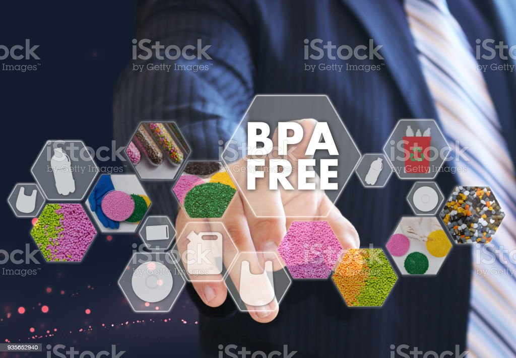 The businessman chooses BPA FREE a on the virtual screen in industrial network connection.The concept made by plastic tare of FREE bisphenol A stock photo