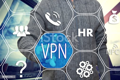 istock The businessman chooses  button VPN,  Virtual Private Network on the touch screen with a futuristic background .The concept  of  Virtual Private Network. 953833922