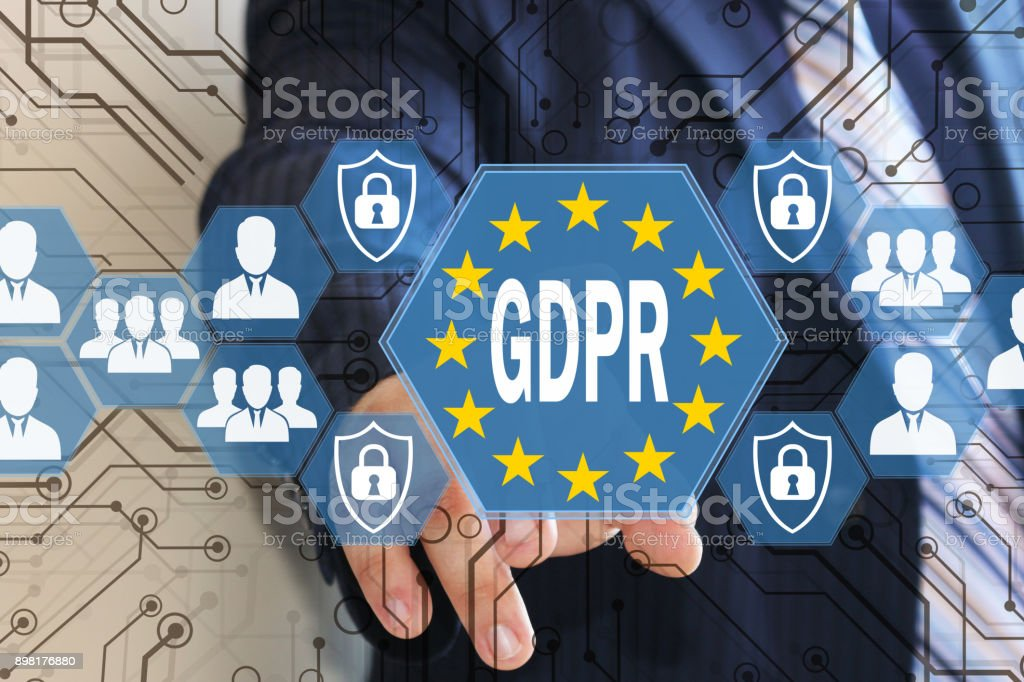 The businessman chooses the GDPR on the touch screen .General Data Protection Regulation concept . - Foto stock royalty-free di 2018