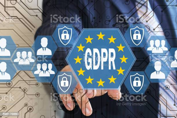 The Businessman Chooses The Gdpr On The Touch Screen General Data Protection Regulation Concept - Fotografie stock e altre immagini di 2018