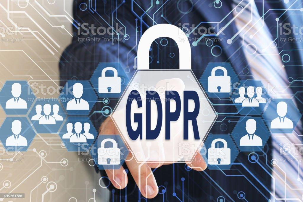 O empresário escolhe o PIBR na tela de toque. Conceito geral do Regulamento de proteção de dados. - foto de acervo