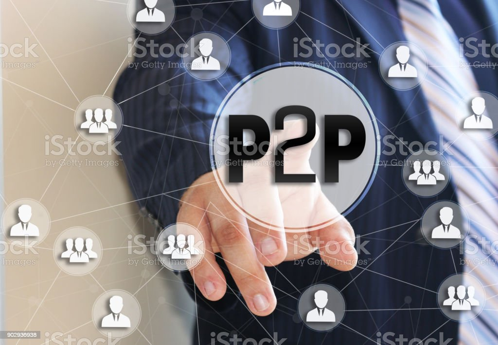 The businessman chooses the P2P,  Peer to peer on a touch screen. Peer to peer lending concept. stock photo