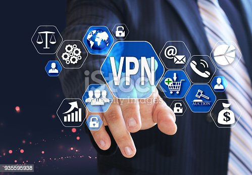 istock The businessman chooses the VPN,  Virtual Private Network on the virtual screen in the business network connection. 935595938