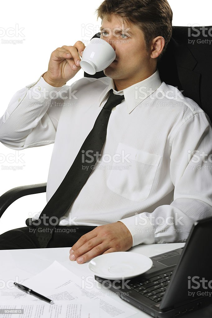 The businessman drinking coffee royalty-free stock photo