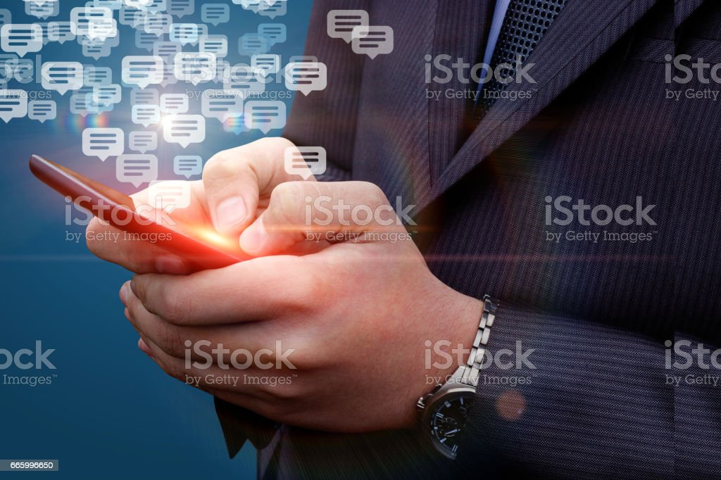 The businessman is in correspondence. stock photo