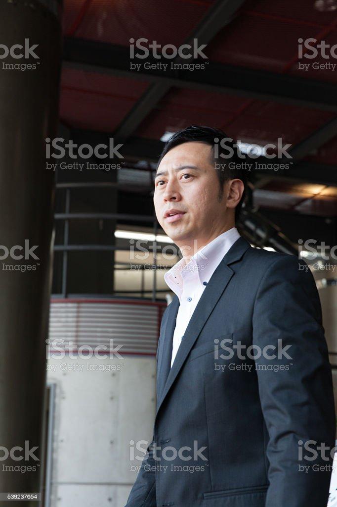El hombre de negocios parado en el lobby, en oficina foto de stock libre de derechos