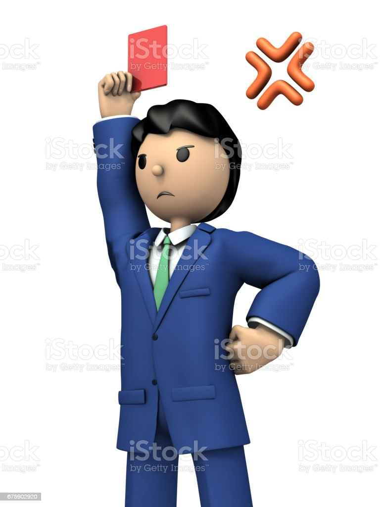 The businessman will show the red card and tell him to leave. vector art illustration