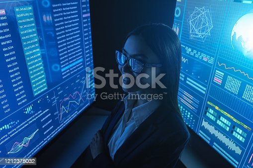 847519080 istock photo The businesswoman look on the blue monitor 1212375032