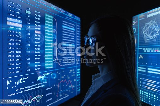 850852928 istock photo The businesswoman look on the blue monitor 1239683360