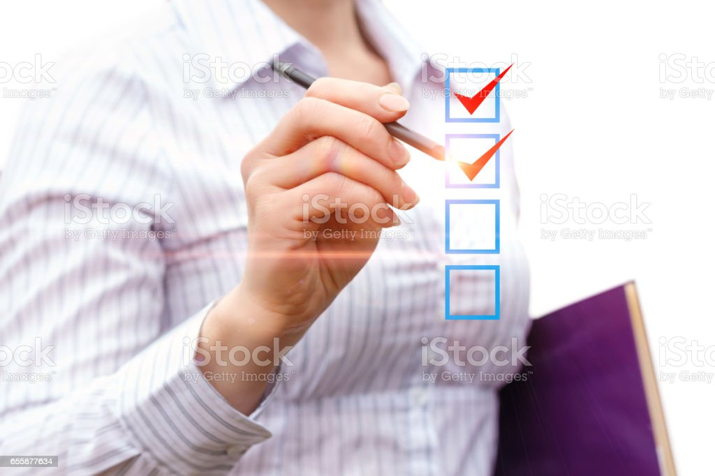 The businesswoman notes the work done. stock photo