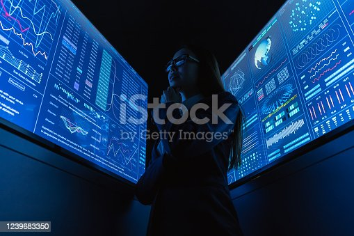 847519080 istock photo The businesswoman standing near the blue monitor 1239683350