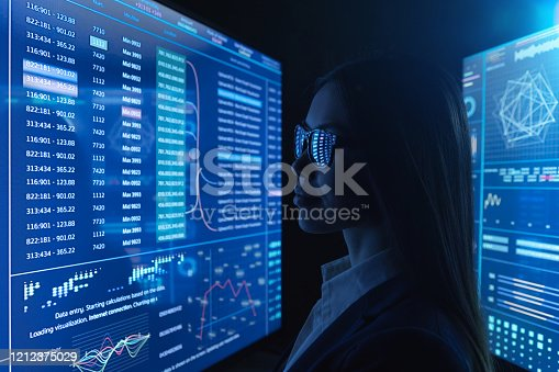 847519080 istock photo The businesswoman works with blue screen 1212375029