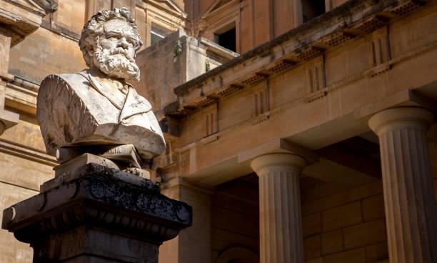 The bust of Giosue Carducci  on the Piazzetta Carducci in Lecce Puglia Italy stock photo