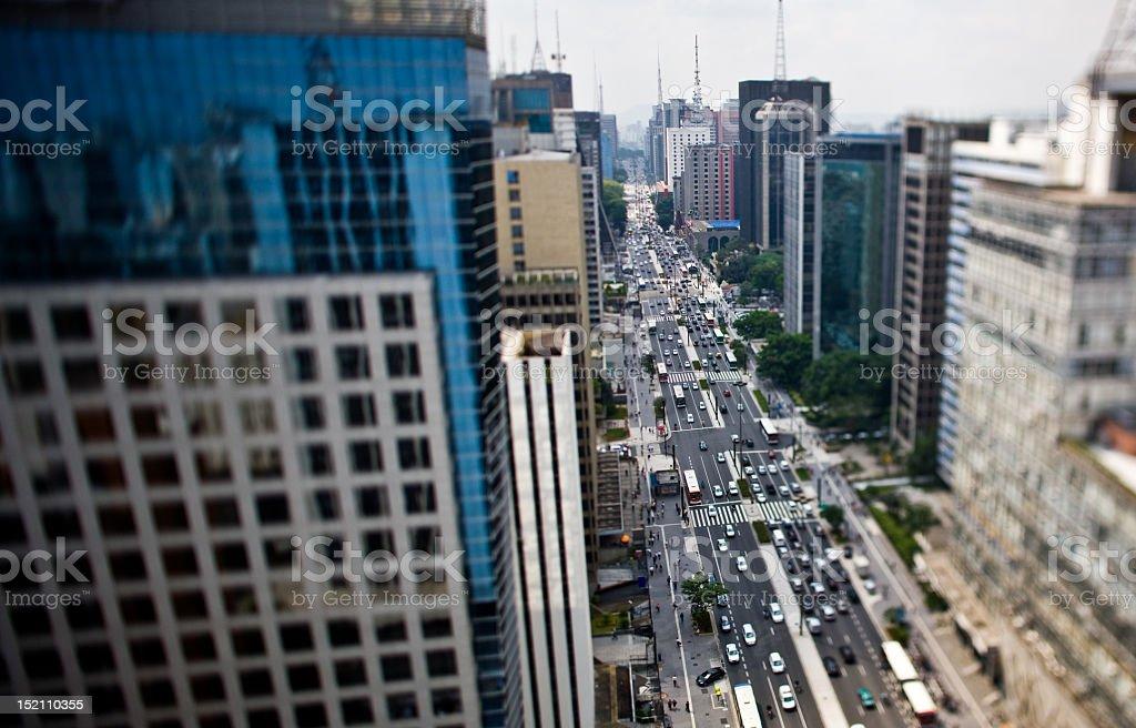 The busy Avenida Paulista among tall buildings stock photo