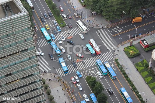 The busy urban traffic in Shenzhen