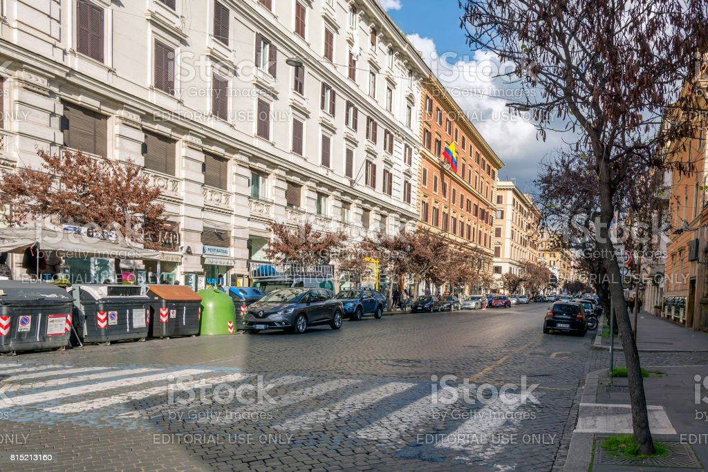 The busy Via Cola di Rienzo in Rome, Italy stock photo