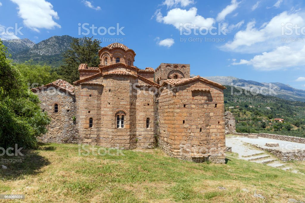 The Byzantine church of Agia Sofia in Mystras, Peloponnese, Greece. - Royalty-free Ancient Stock Photo