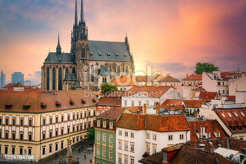 Centre of the old town of Brno - The Cathedral of Saints Peter and Paul (Katedrála svatých Petra a Pavla) and The Cabbage Market in dramatic sunset.