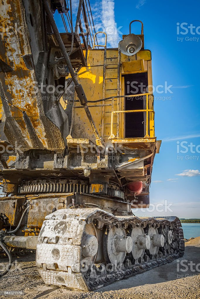 The cabin of the excavator stock photo