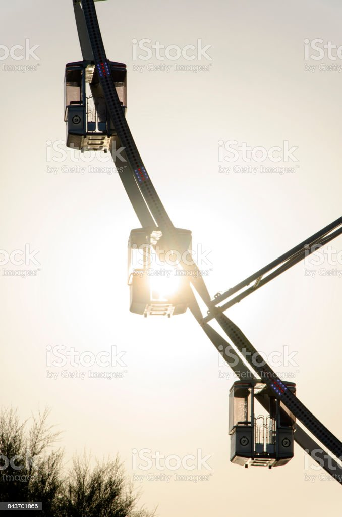 The cabins of a panoramic wheel stock photo