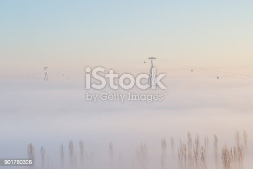 istock The cable car above the clouds 901780326