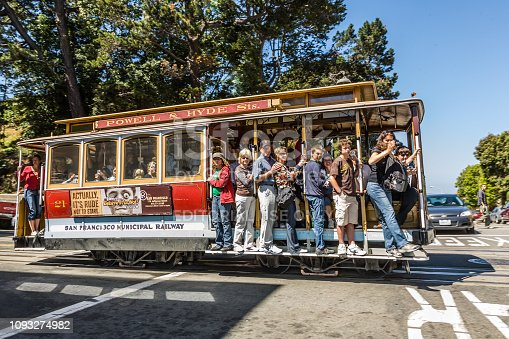 SAN FRANCISCO, USA - JULY 24, 2008:  The Cable Car passes the Powell street in rush hour full of passengers standing also on the footboard  in San Francisco, USA.