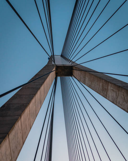 The cables of a suspended bridge stock photo