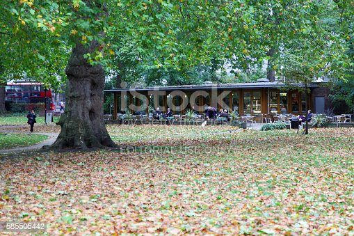 """istock """"the cafe in the park"""" Russel Square,London 585505442"""