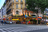 Paris, France - circa May, 2017: The cafe Le Dome is the famous cafe in the Montparnasse quarter of Paris.It had been frequented by Pablo Picasso, Amadeo Modigliani, Wassilii Kandinsky