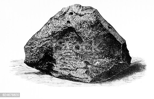 An image of a meteorite (documented as the Caille Aerolite) from an 1895 antique book