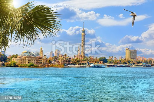 The Cairo tower, beautiful view from the Nile river, Egypt.