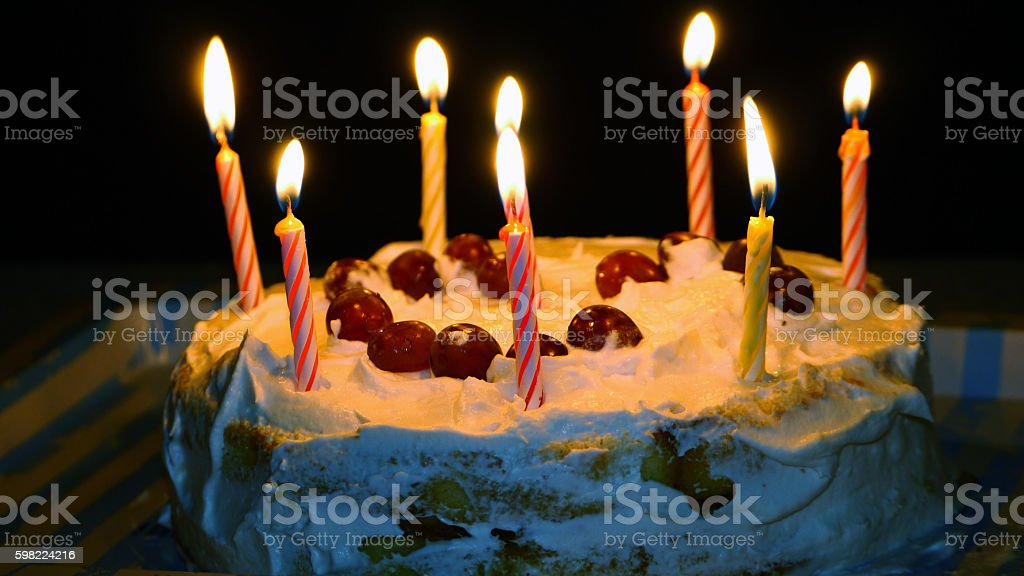 The cake with candles foto royalty-free