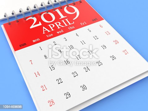 1124594277 istock photo The Calendar on Blue Background 1094469698
