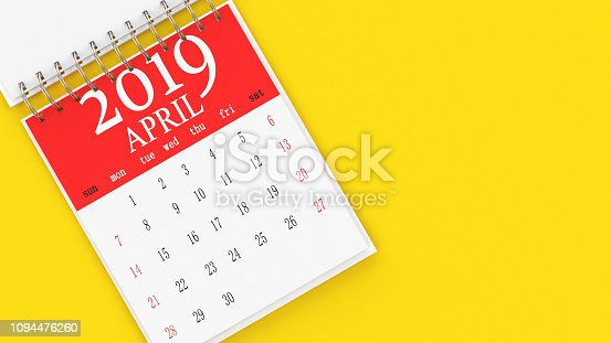 1124594277 istock photo The Calendar on Yellow Background 1094476260