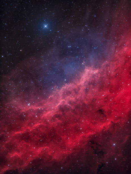 The California Nebula in the Constellation of Perseus with the bright Star Menkib An astronomical long time exposure, taken at the Baerenstein Observatory in Baerenstein, Germany. The California Nebula (NGC 1499) is an emission nebula located in the constellation Perseus. It is so named because it appears to resemble the outline of the US State of California. nebula stock pictures, royalty-free photos & images
