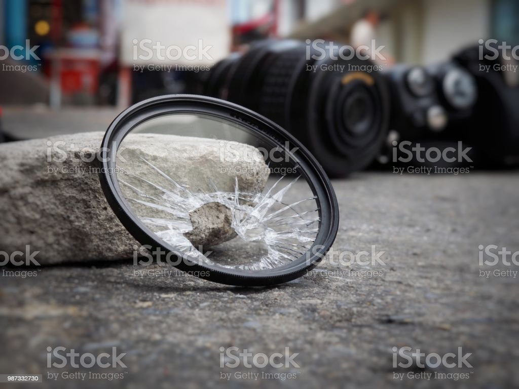 The camera dropped to the ground, causing the filter to break, the len and the body damaged. In the accident insurance concept on property stock photo