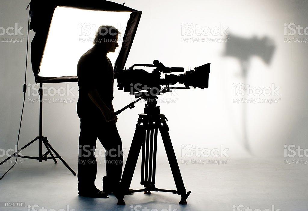 TV the camera in studio. stock photo