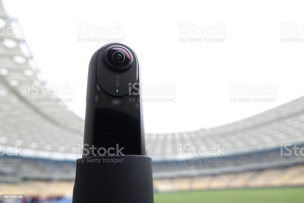 The camera that shoots 360 degrees in the background of the stadium. stock photo