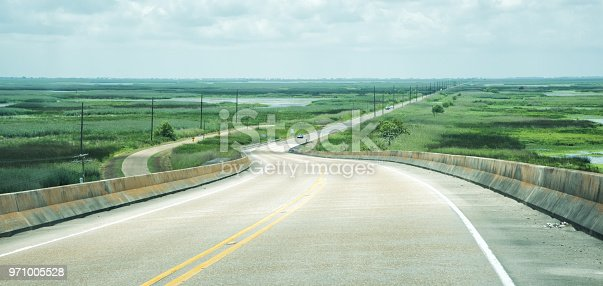 The Cameron Prairie National Wildlife Refuge as seen from the Conway LeBleu Memorial Bridge, Highway 27, south of Lake Charles, Louisiana.