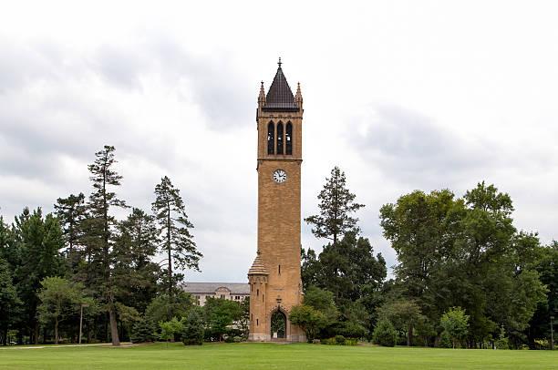 The Campanile Clock Tower at Iowa State University stock photo