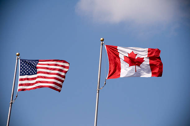 The Canadian flag and the American flag  American and Canadian flag flying side by side. canada flag photos stock pictures, royalty-free photos & images