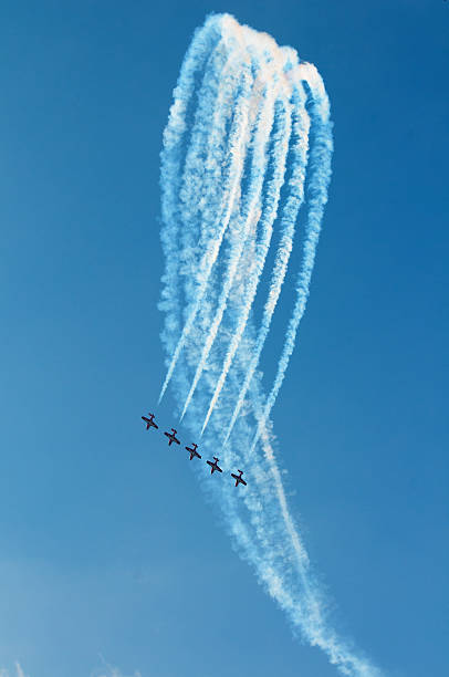 the canadian snowbirds demo team in flight - stock image - airshow stock photos and pictures