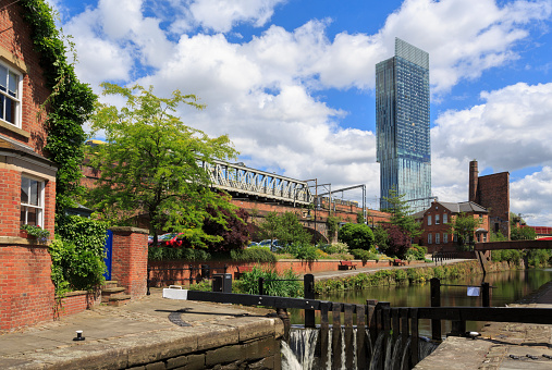 The canal in Castlefield, Manchester.