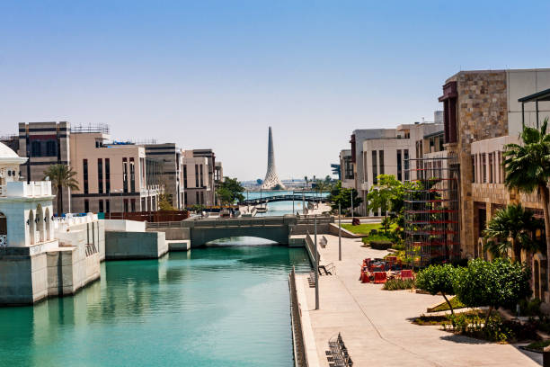 The canal in the King Abdullah University of Science and Technology campus, Thuwal, Saudi Arabia stock photo