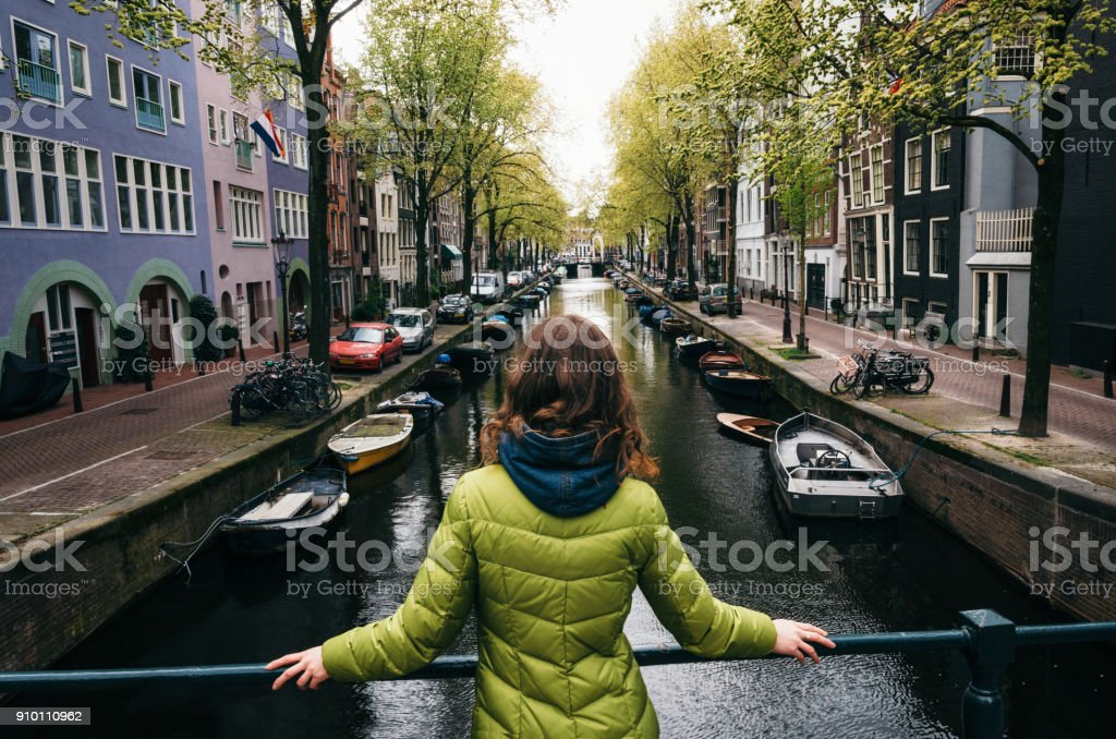 The canal of Amsterdam, Netherlands stock photo
