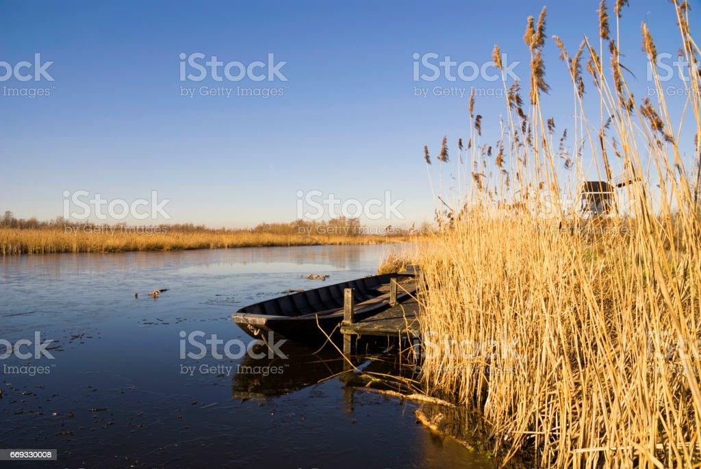 The canal Oude Zederik near Ameide stock photo