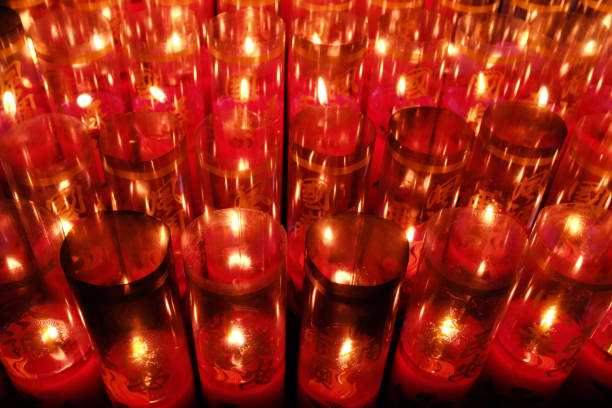 the candlelight in a temple stock photo