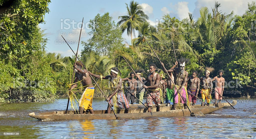 The Canoe war ceremony stock photo