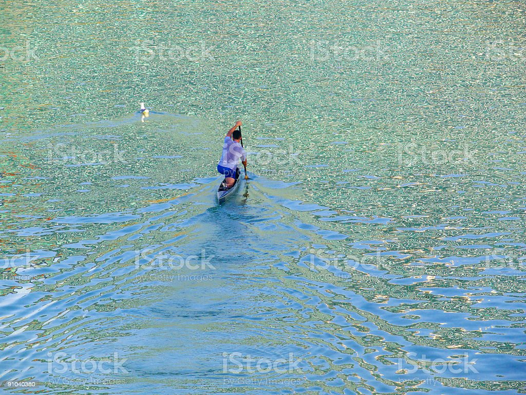 The canoeist royalty-free stock photo