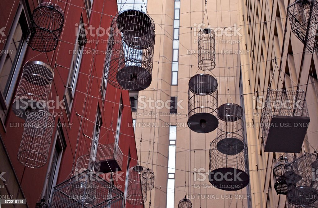 The canopy of birdcages suspended above Angel Place. stock photo